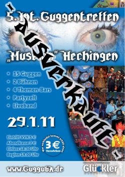 Flyer vom 5. Internationalen Guggentreffen 2011 der Gugguba Hechingen e.V.